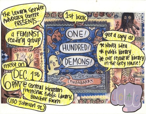 Event poster for 'Levana Feminist Reading Group Reads One Hundred Demon'.