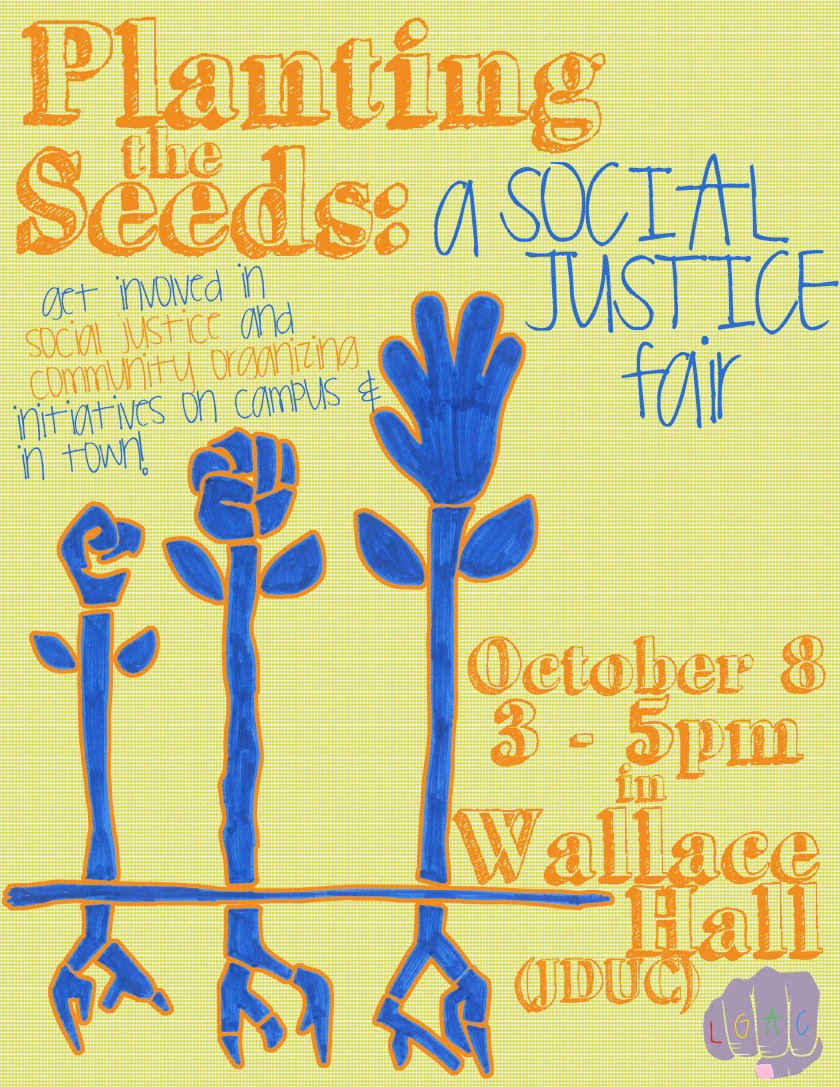 Event poster for 'Planting the Seeds: A Social Justice Fair'. Detailed descriptions below.