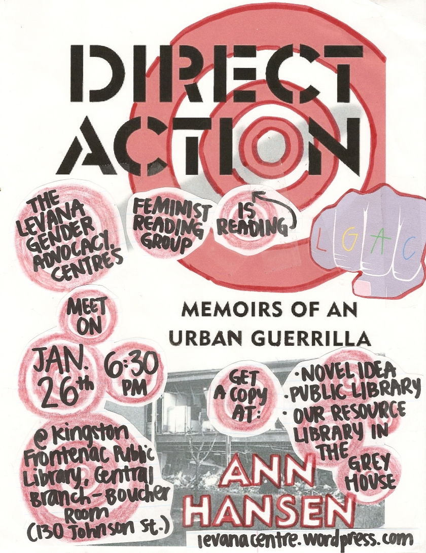 Event poster for 'Levana Feminist Reading Group Reads Direct Action'. Detailed description below.
