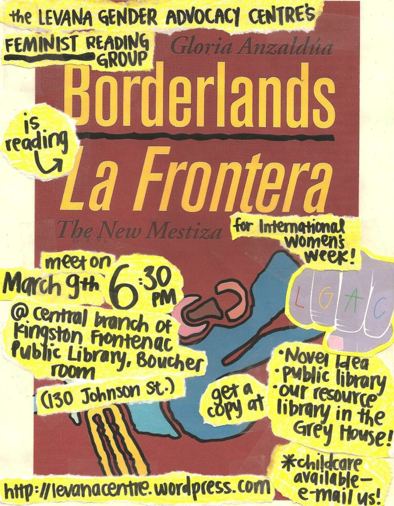 Event poster for 'Levana Feminist Reading Group Reads Borderlands Le Frontera The New Mestiza'.