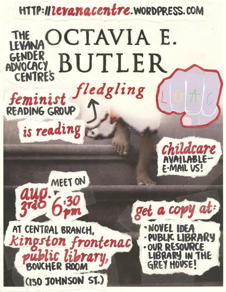 Event poster for 'Levana Feminist Reading Group Reads Fledgling'.