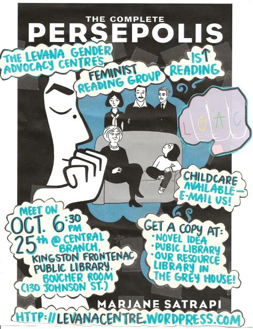 Event poster for 'Levana Feminist Reading Group Reads The Complete Persepolis'.