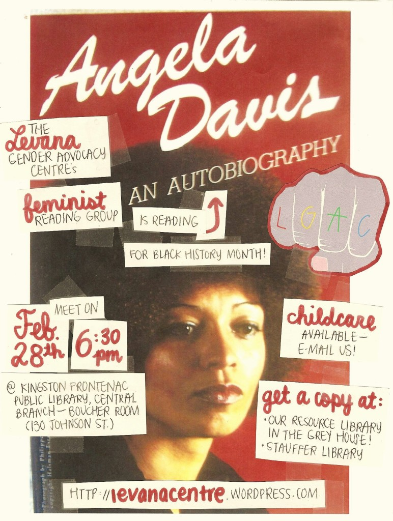 Evebt poster for 'Levana Feminist Reading Group Reads Angela Davis An Autobiography'
