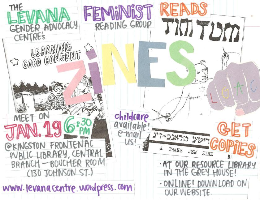 Even poster for 'Levana Feminist Reading Group Reads Learning Good Consent and TimTum: A Trans Jew Zine.'.