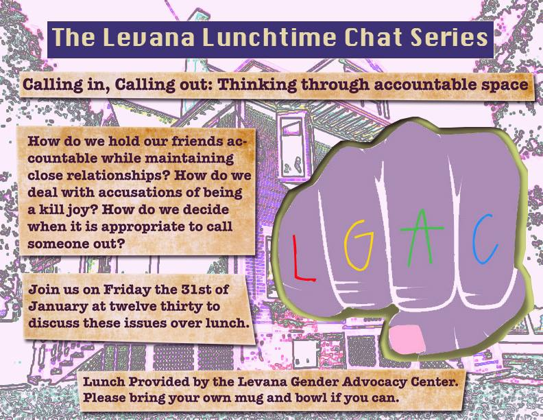 Event poster for 'Levana Lunchtime Chat Series on Calling in, Calling out: Thinking through Accountable Space'
