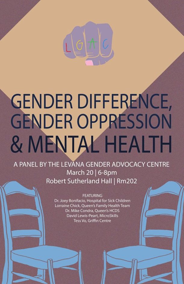 Image is a poster for the event ''Gender Difference,Gender Oppression & Mental Health Panel and Discussion'.