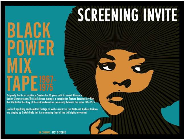 Image is a poster for event 'POCTALK KINGSTON Film Screening of The Black Power Mixtape'. Detailed description below.