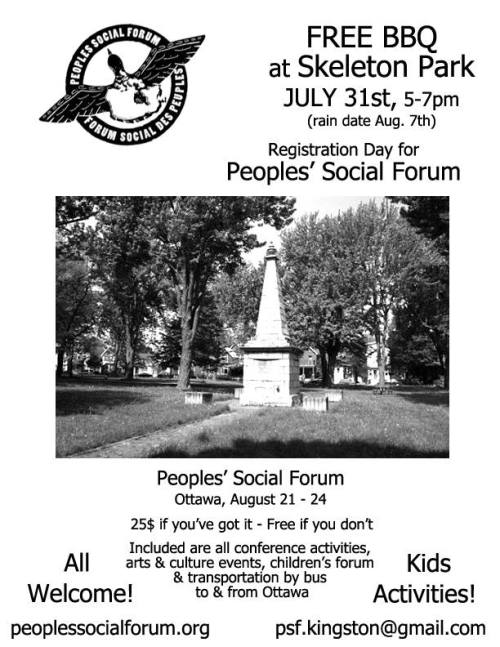 Image is a poster for the event 'Free BBQ at  Skeleton Park to Register for the Peoples' Social Forum'. Description below.