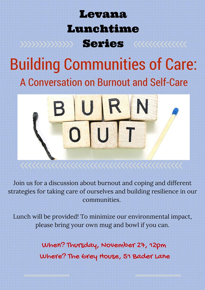 Poster for 'Building Communities of Care: A Conversation on Burnout and Self-Care'. Description below.