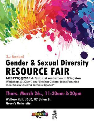 Poster for 'Gender & Sexual Diversity Fair'. Description below.
