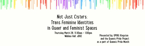 Poster for 'Not Just Cisters: Trans Feminine Identities in Queer and Feminist Spaces'. Description below.