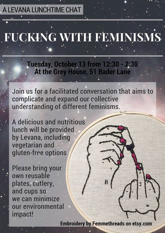 Image is a poster for the Lunchtime Chat event 'Fucking with Feminisms: Exploring our Relationships to Feminist Thought and Identity'.