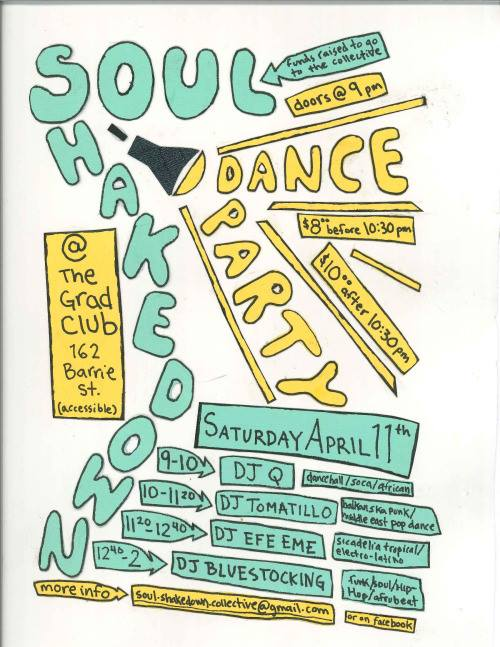 This image is a poster for the event 'Soul Shakedown Dance Party'. Find brief image description below
