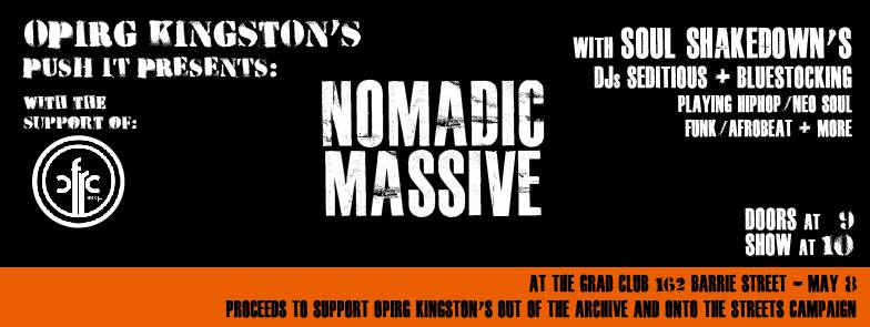 Event poster for 'Nomadic Massive with Soul Shakedown DJs'. Detailed description below.